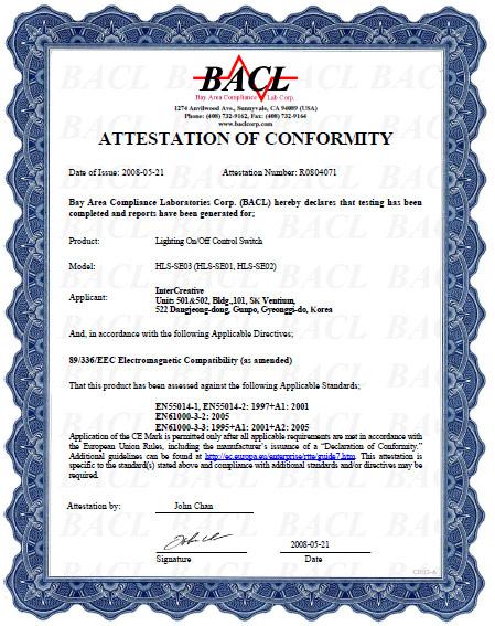 BACL荣誉证书